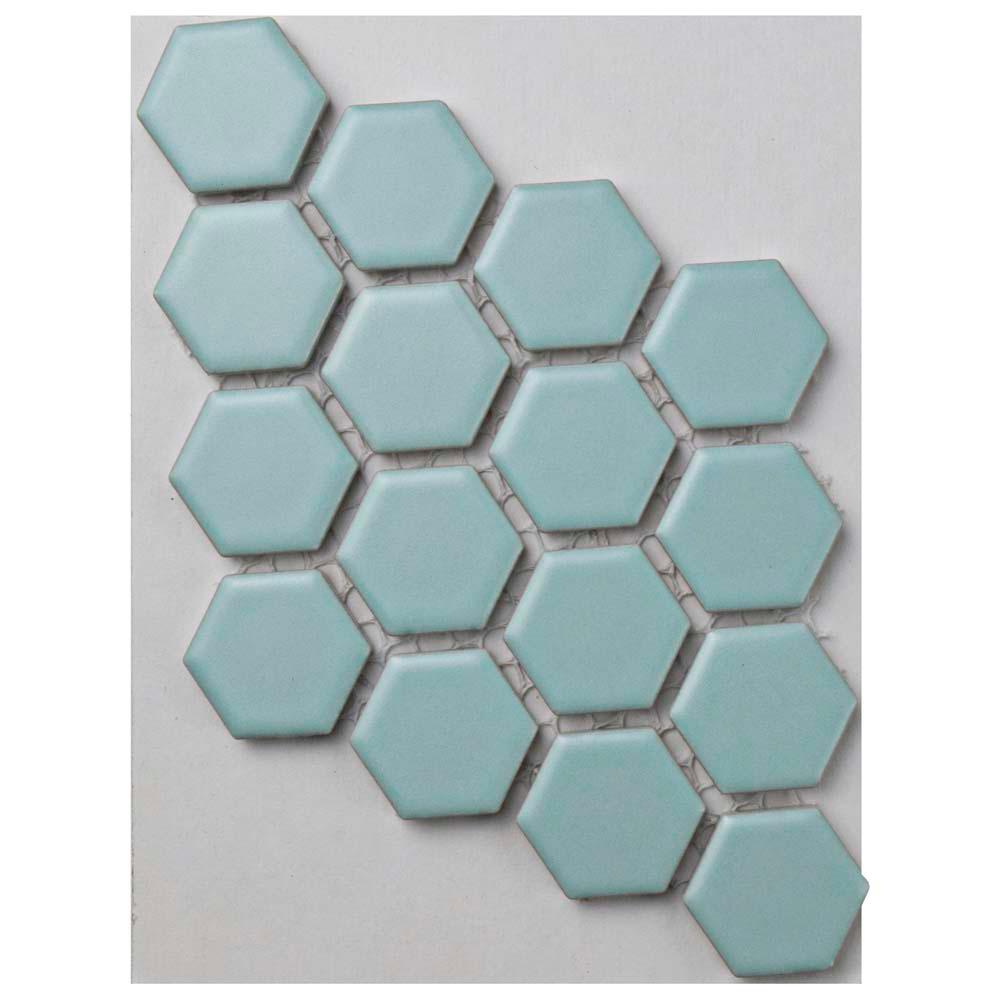 Merola Tile Metro Hex Matte Light Blue Porcelain Mosaic Tile - 3 in. x 4 in. Tile Sample