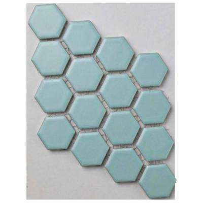 Metro Hex Matte Light Blue Porcelain Mosaic Tile - 3 in. x 4 in. Tile Sample