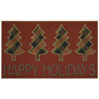 Happy Holiday Trees 18 in. x 30 in. Impressions Door Mat