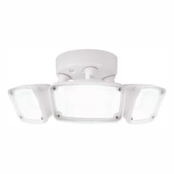 FHS White Outdoor Integrated Triple Head LED Flood Light with Selectable CCT (3000K, 4000K or 5000K), Switch Controlled