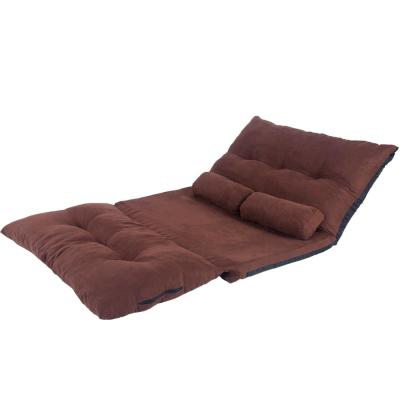Brown Adjustable Folding Futon Sofa Bed with 2-Pillows