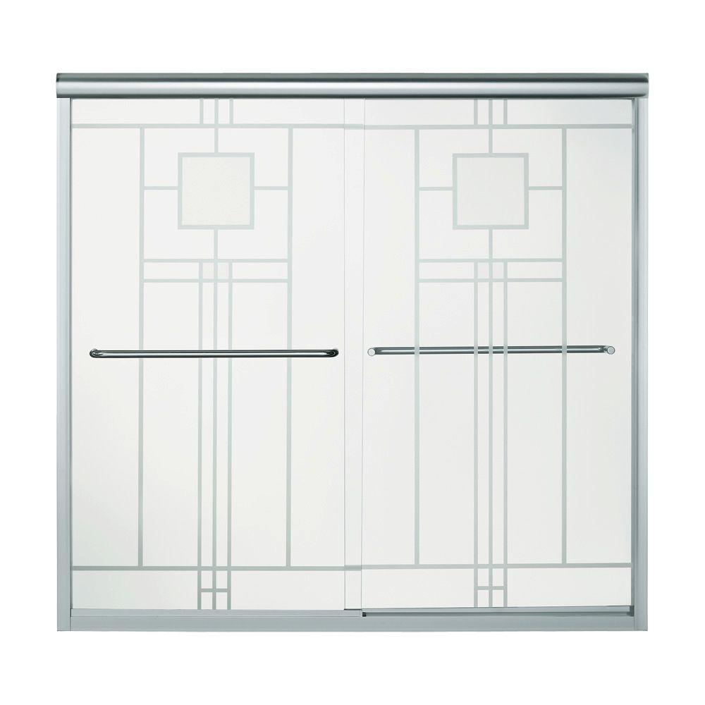 STERLING Finesse 59-5/8 in. x 58-5/16 in. Semi-Framed Sliding Tub/Shower Door in Silver with Handle