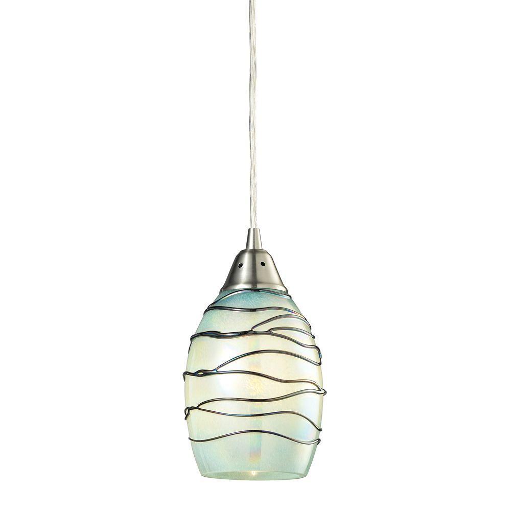 An Lighting Helice Collection 1 Light Satin Nickel Led Mini Pendant