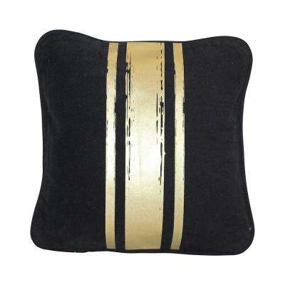 12 in. x 12 in. Black with Gold Paintstroke Stripes Brushed Canvas  Standard Pillow with Green Eco Friendly Insert