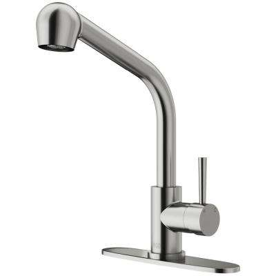 Avondale Single-Handle Pull-Out Sprayer Kitchen Faucet with Deck Plate in Stainless Steel