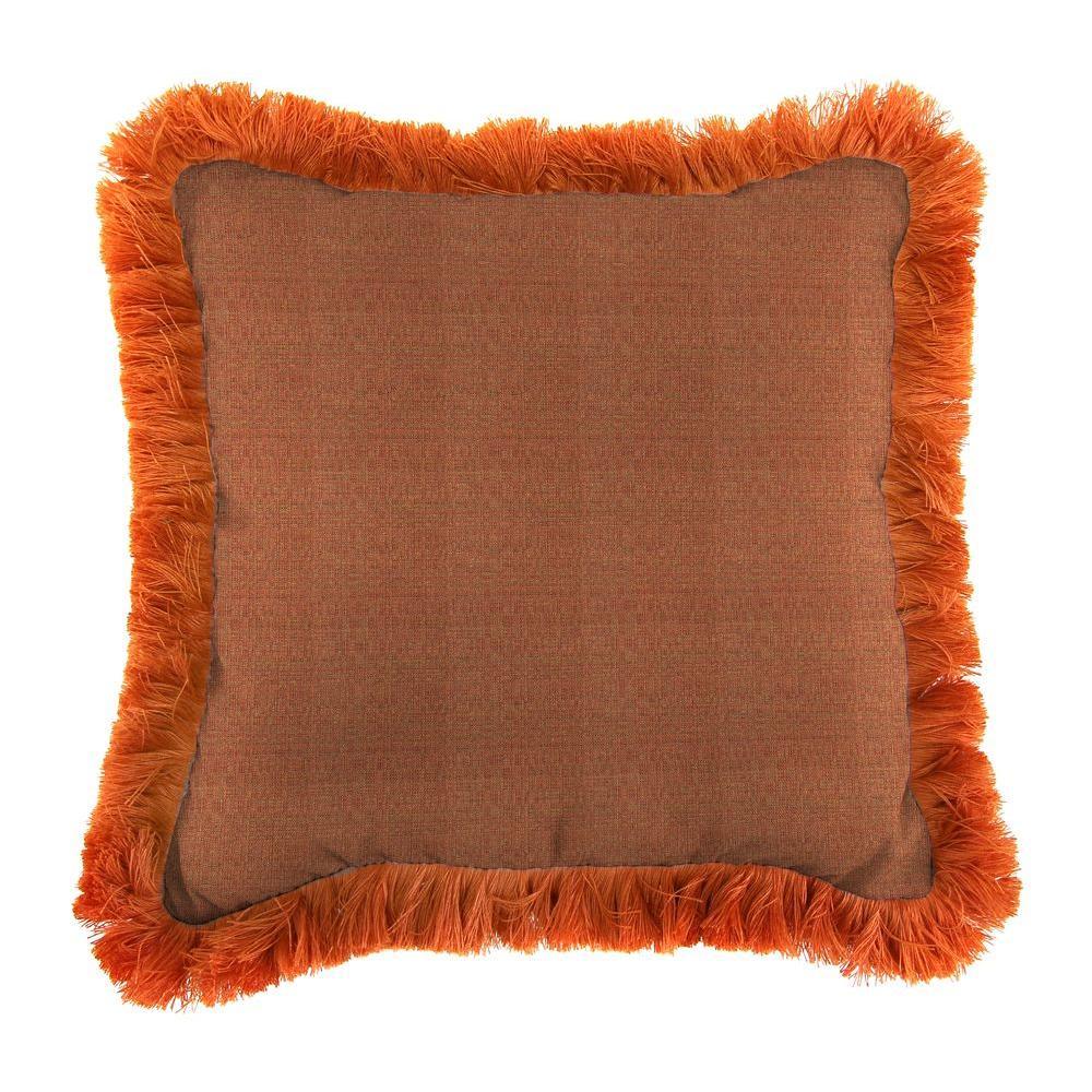 Jordan Manufacturing Sunbrella Linen Chili Square Outdoor Throw Pillow with Tuscan Fringe