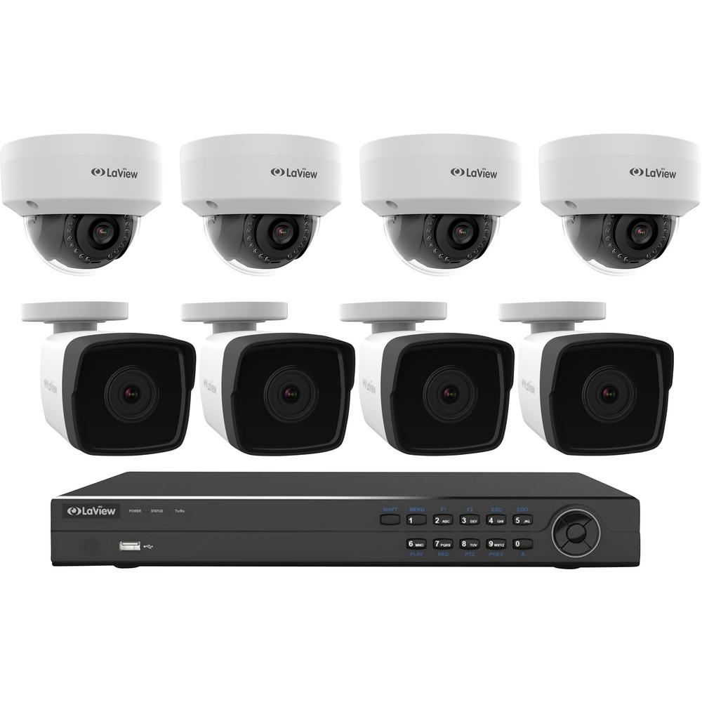LaView 8-Channel Full HD IP Indoor/Outdoor Surveillance 2TB NVR System (4) 1080P Bullet and (4) Dome Cameras Free Apps