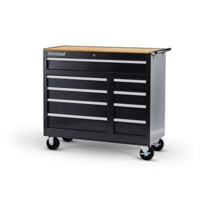 Workshop Series 42 in. 9-Drawer Cabinet with Wood Top, Black