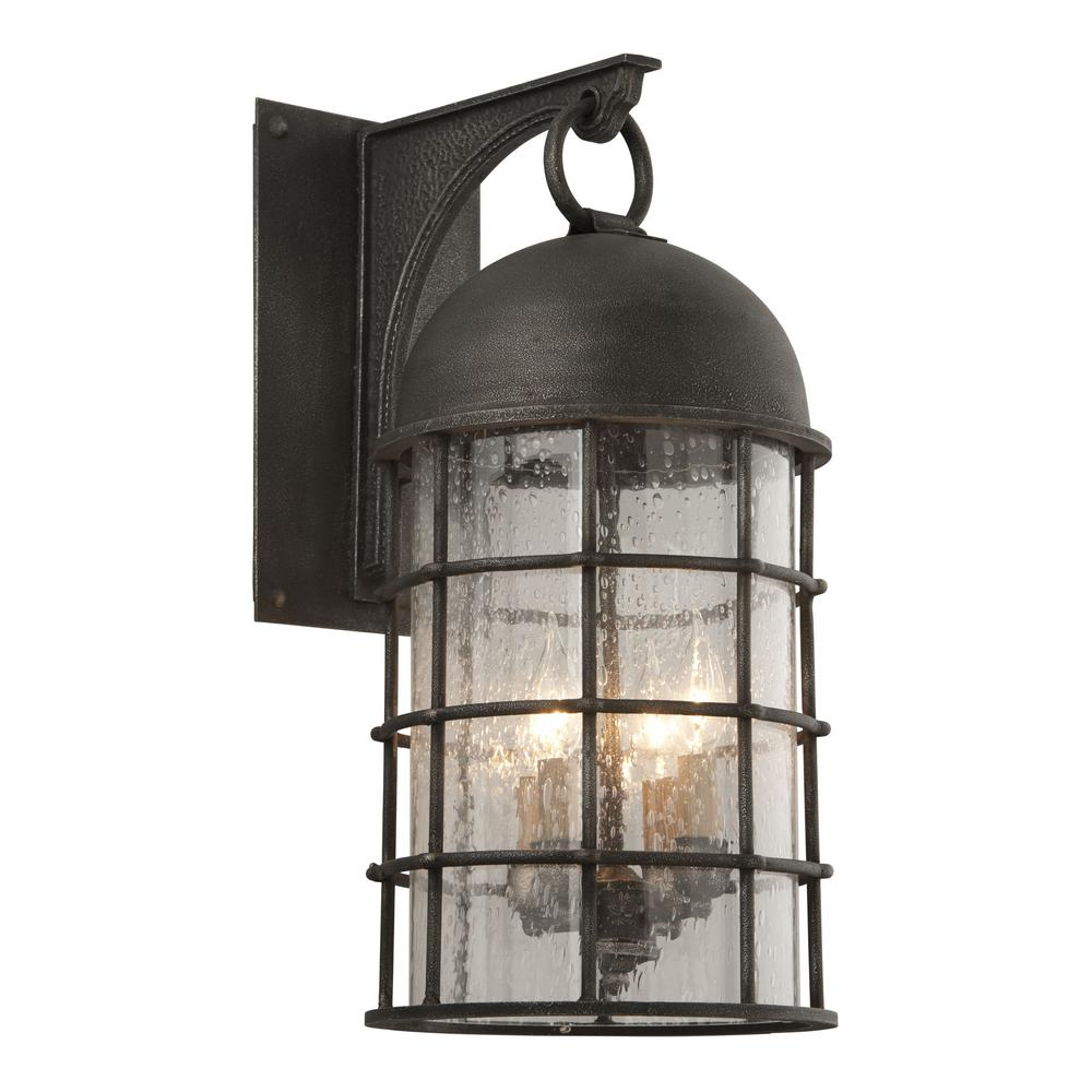 Troy Lighting Charlemagne 4-Light Aged Pewter Outdoor Wall Lantern Sconce