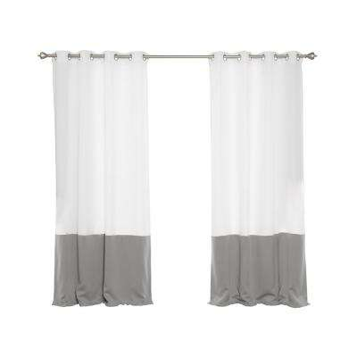 Oxford Outdoor 52 in. W x 84 in. L Colorblock Curtains in Dove (2-Pack)