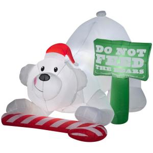 W Pre Lit Led Animated Inflatable Do Not Feed The Bears Airn Scene 114446 Home Depot