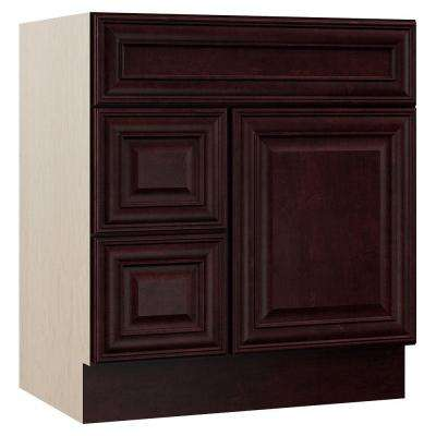 Oxford 30 in. W x 21.5 in. D x 33.5 in. H Bath Vanity Cabinet Only with Drawers on Left in Crimson