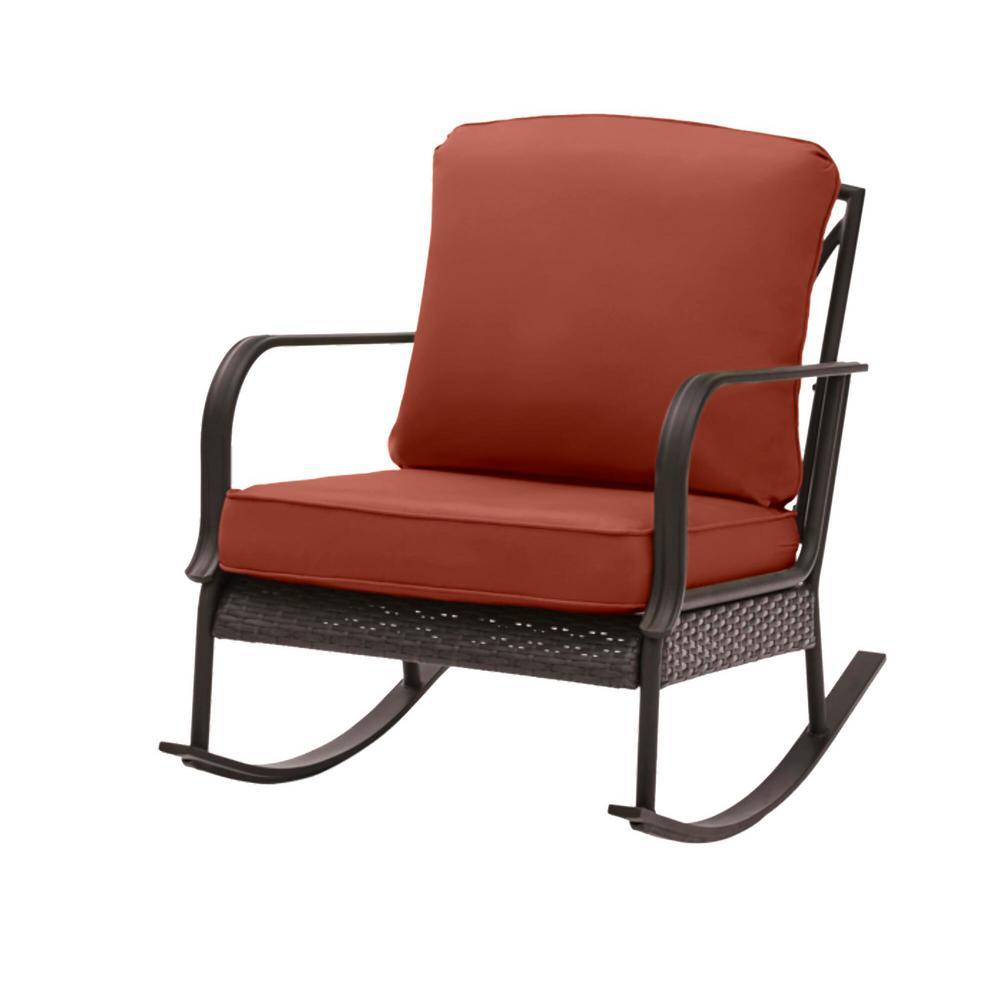 Hampton Bay Becker Dark Mocha Steel Outdoor Patio Rocking Chair with Sunbrella Henna Red Cushions was $259.0 now $179.0 (31.0% off)