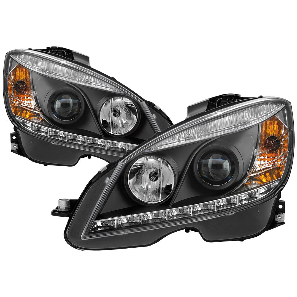 Spyder Auto Mercedes Benz C-Class 08-11 Projector Headlights - Halogen  Model Only(will lose AFS function) - DRL - Black