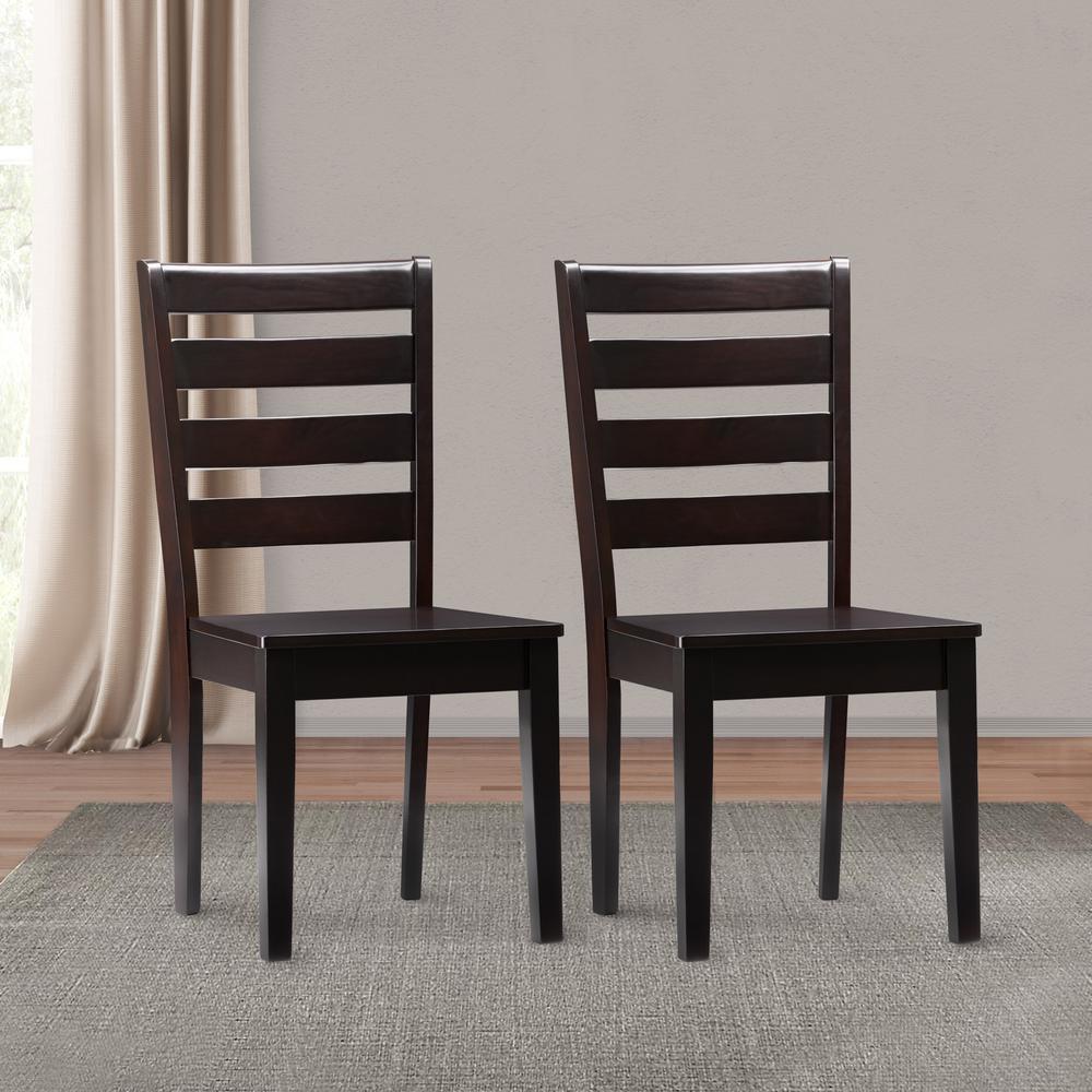 Corliving Memphis Mahogany Solid Wood Dining Chairs With Horizontal Slats Set Of 2