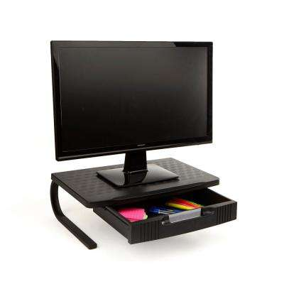 Black Extra Wide Plastic Monitor Stand With Metal Leg Support and Drawer