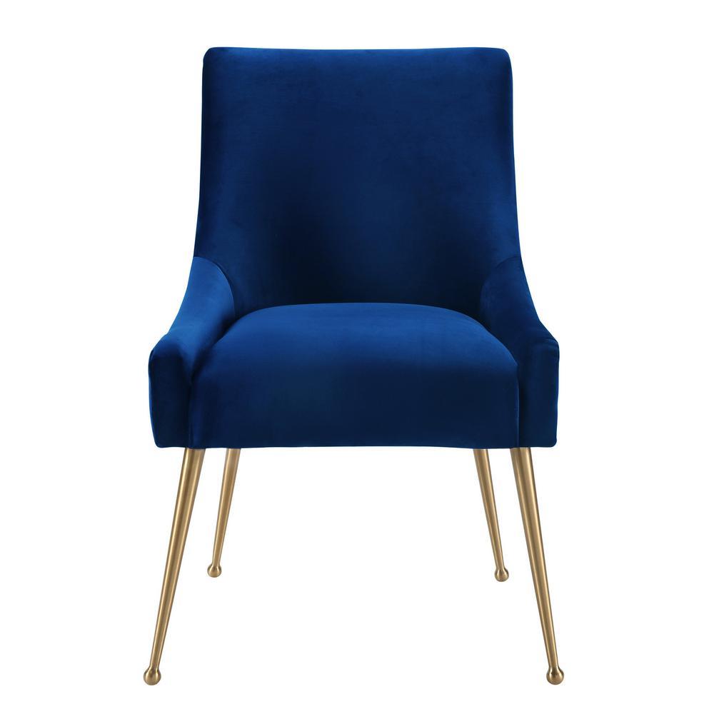 Beatrix Navy Velvet Side Chair, Blue/Velvet
