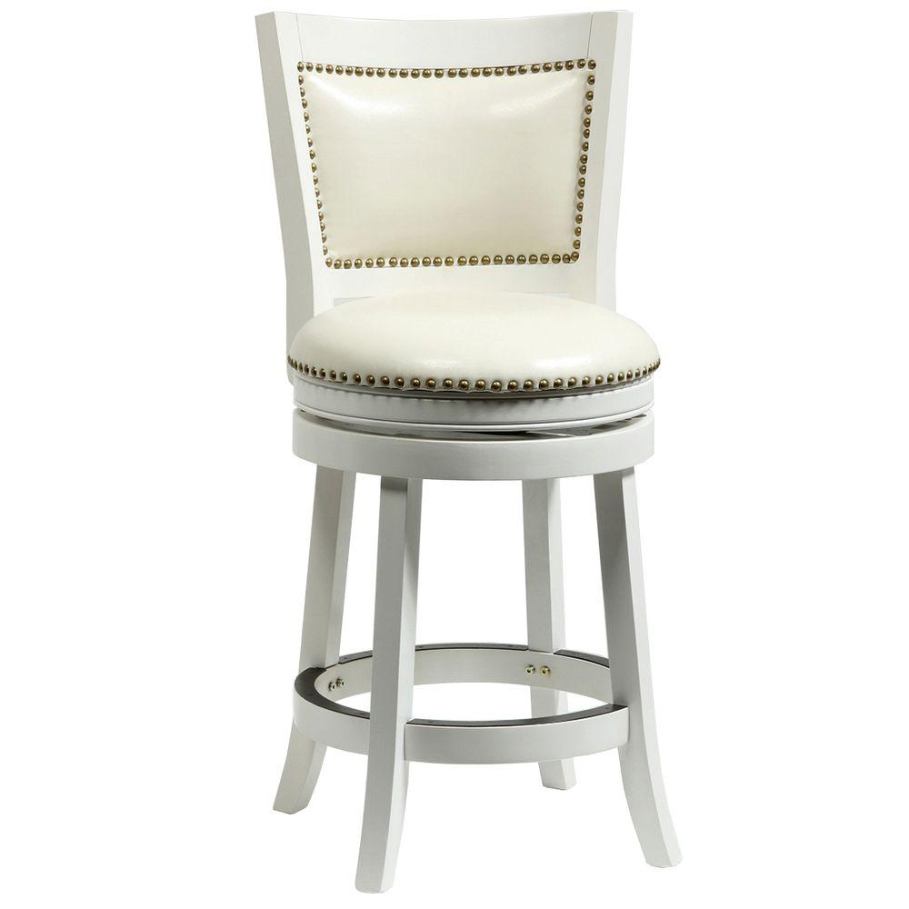 Boraam Bristol 24 In White Swivel Cushioned Bar Stool 42424 The