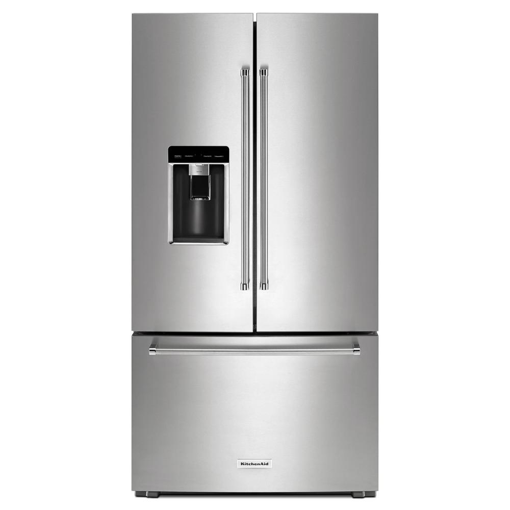 KitchenAid 23.8 cu. ft. French Door Refrigerator in PrintShield Stainless  Steel, Counter Depth