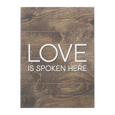 Love is Spoken Here Vertical Slat Board, BROWN/WHITE LETTERS, Memo Board