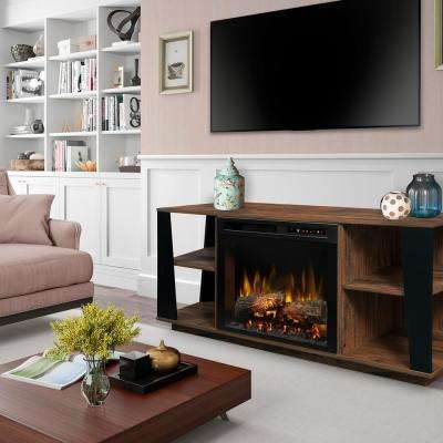 Arlo 60 in. Media Console in Walnut with 26 in. Electric Fireplace with Logs