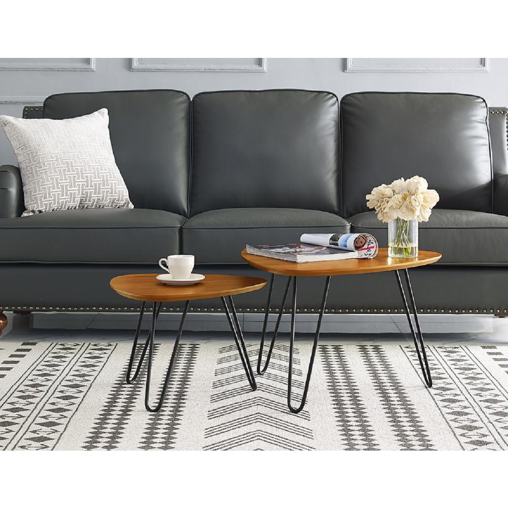 Walker Edison Furniture Company Hairpin Leg Wood Nesting Coffee Table Set    Walnut