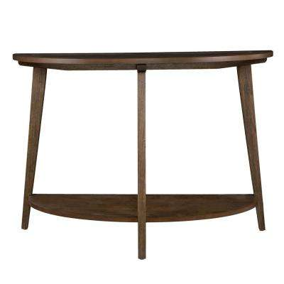 Richland Burnt Oak Demilune Console Table with Glass Top