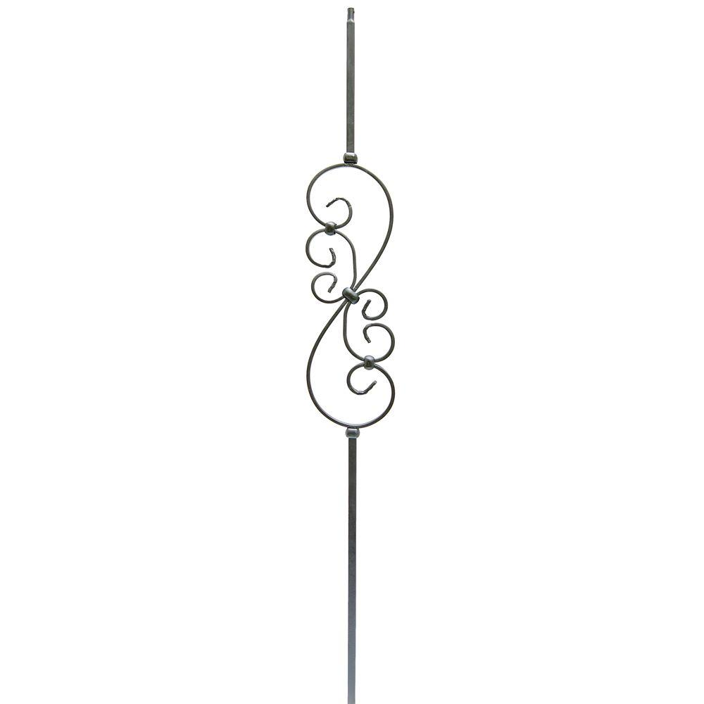 1/2 in. x 44 in. Metal Satin Black Narrow Scroll Baluster