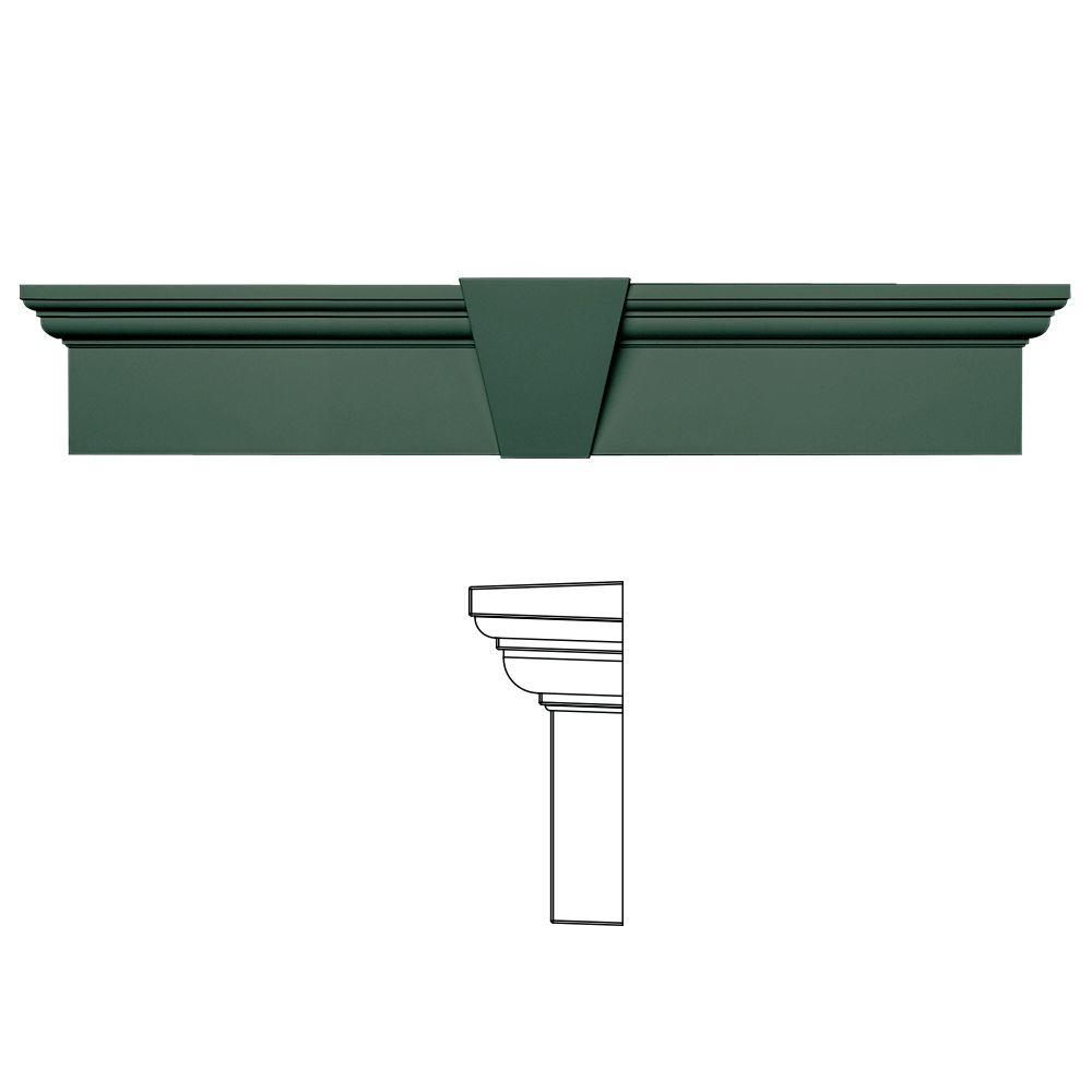 Builders Edge 6 in. x 33-5/8 in. Flat Panel Window Header with Keystone in 028 Forest Green
