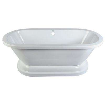 Pedestal 67 in. Acrylic Double Ended Flatbottom Bathtub in White