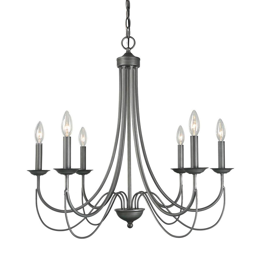 Uolfin Mancos 6 Light Black Highlights Modern Farmhouse Classic Candlestick Island Chandelier Pendant Light 46fr22hd2332963 The Home Depot