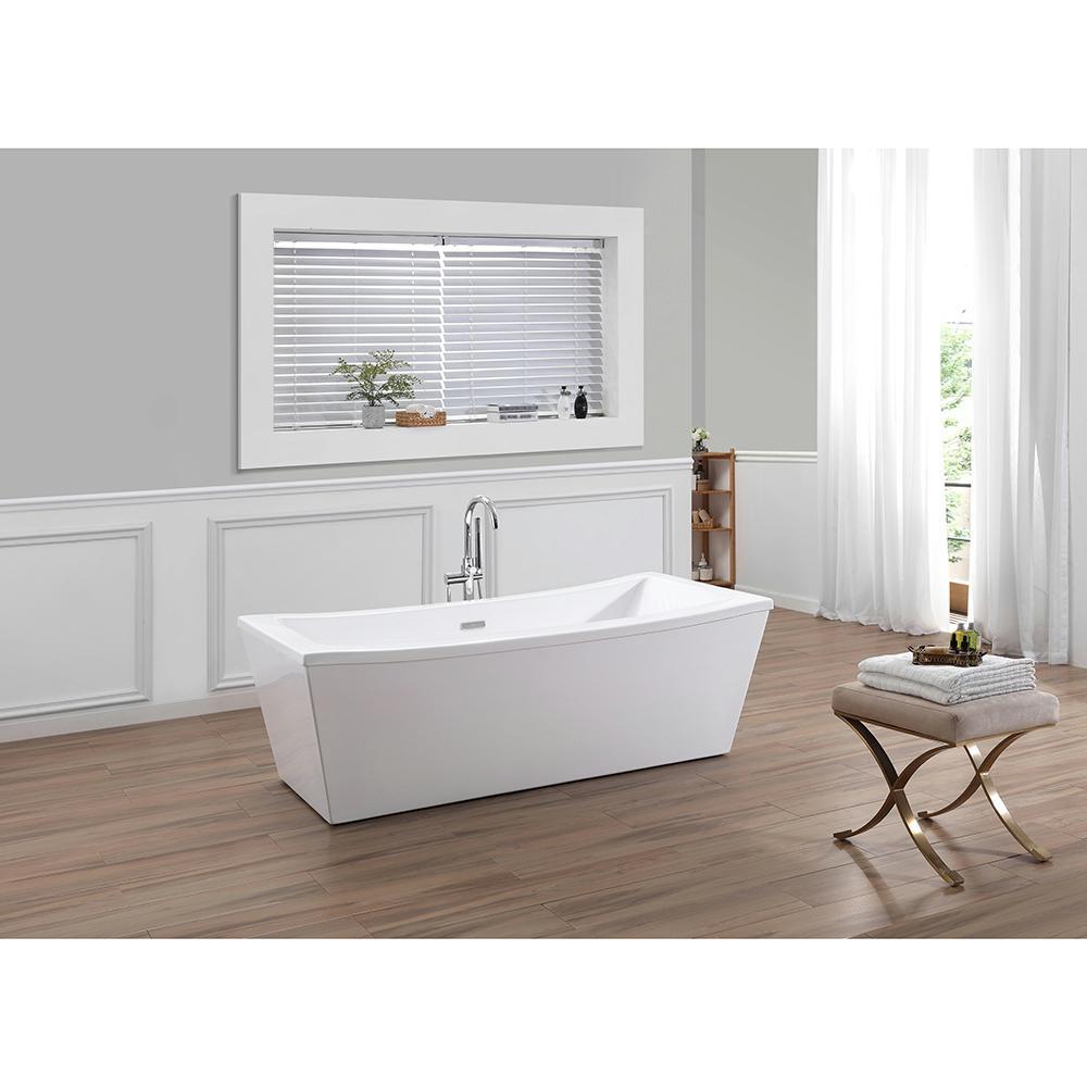 OVE Decors Terra 70 in. Center Drain Bathtub in White