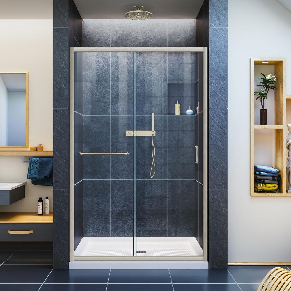 DreamLine Infinity-Z 36 in. x 48 in. Semi-Frameless Sliding Shower Door in Brushed Nickel with Center Drain White Acrylic Base