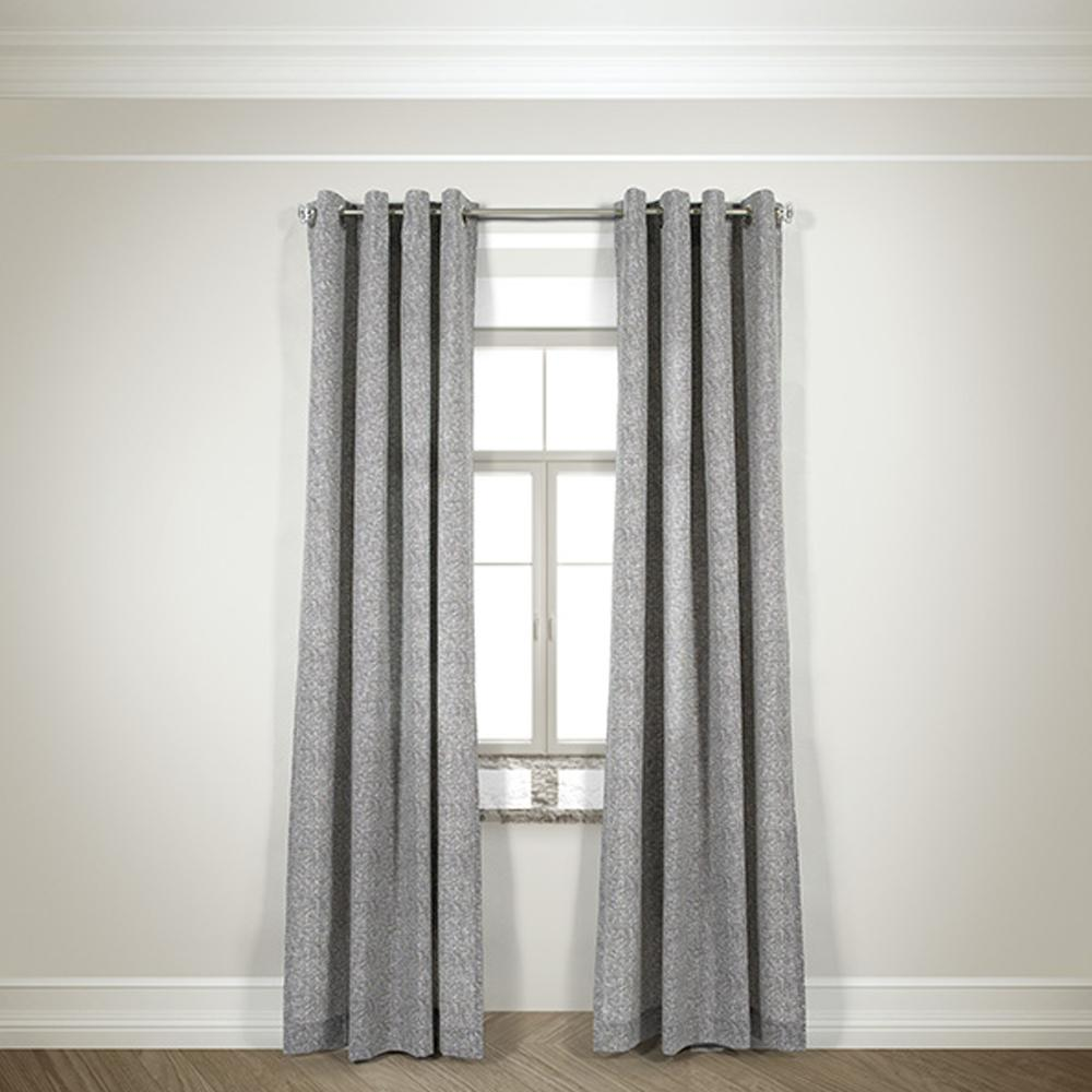 LR Resources Semi Opaque Mason Taupe Cotton And Polyester Half Panama Curtain