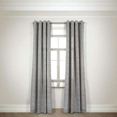 Semi-Opaque Mason Taupe Cotton and Polyester Half Panama Curtain - 50 in W. x 84 in. L