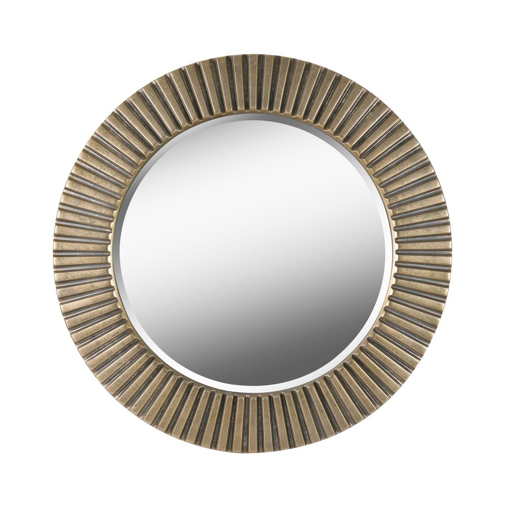 Kenroy Home Medium Round Antique Brass Beveled Glass Art Deco Mirror 33 82 In H X 33 82 In W 60021ab The Home Depot