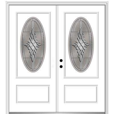 72 in. x 80 in. Grace Right-Hand Inswing Oval-Lite Decorative Primed Fiberglass Prehung Front Door on 6-9/16 in. Frame