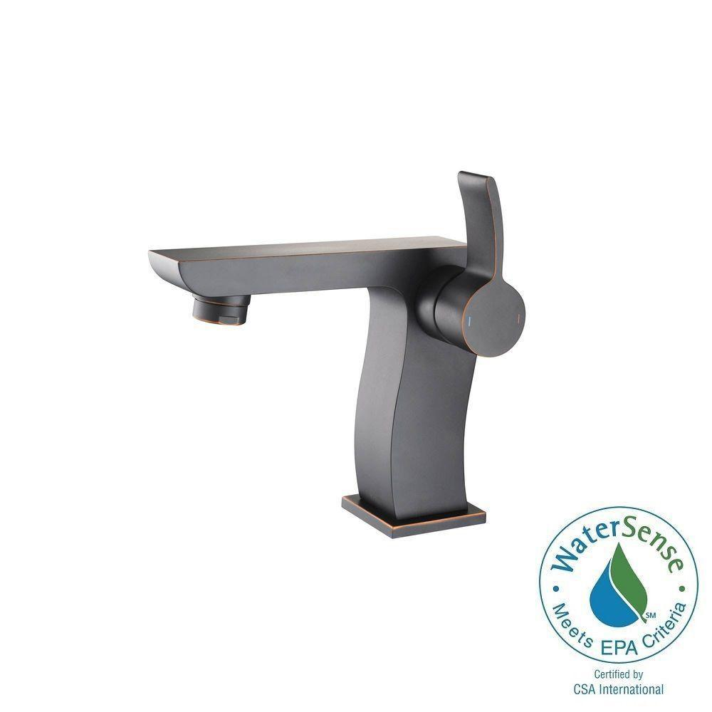 KRAUS Sonus Single Hole Single-Handle Mid-Arc Bathroom Faucet in Oil Rubbed Bronze