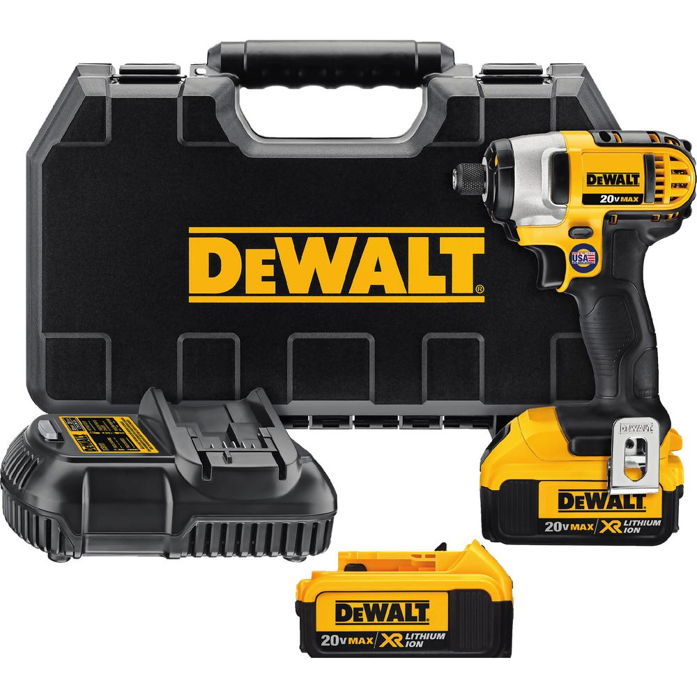DEWALT 20-Volt MAX Lithium-Ion Cordless 1/4 in. Impact Driver Kit with (2) Batteries 4Ah, Charger and Case