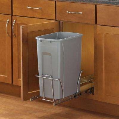 19 in. H x 9 in. W x 20 in. D Steel In-Cabinet 35 Qt. Single Pull-Out Trash Can in Platinum
