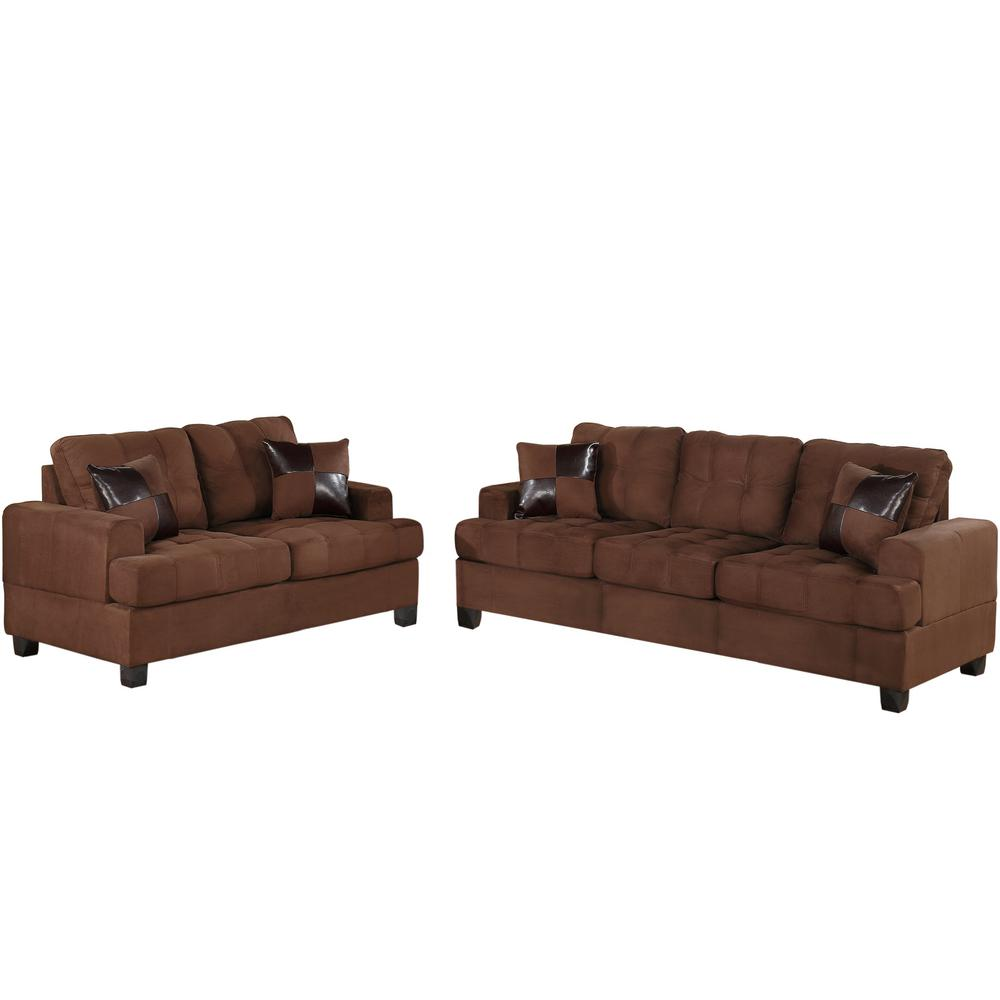 Venetian Worldwide Chocolate Brown Sofa Set