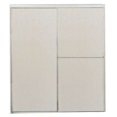 59-1/2 in. x 63-1/4 in. Framed Sliding Shower Door in Bright Clear with Rain Glass and Towel Bar
