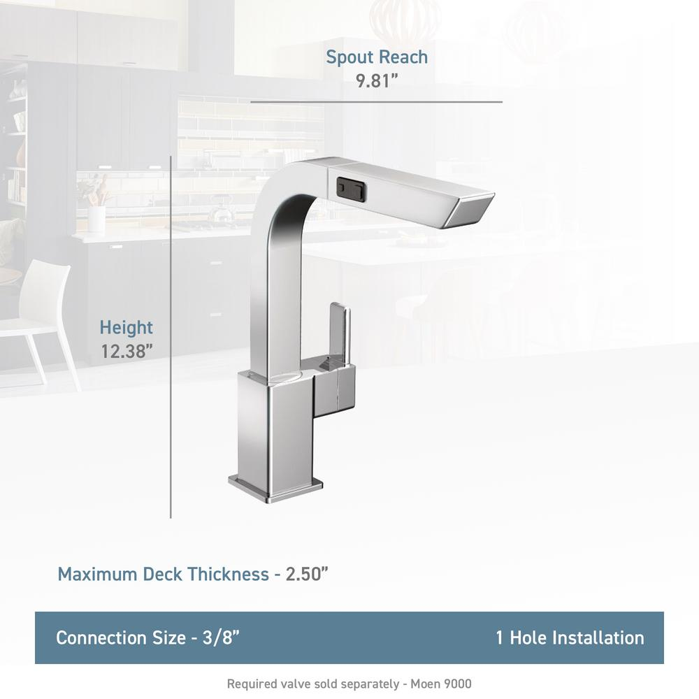 MOEN 90-Degree Single-Handle Pull-Out Sprayer Kitchen Faucet in Chrome
