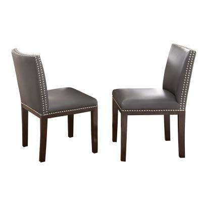Tiffany Gray Vinyl Side Chairs (Set of 2)