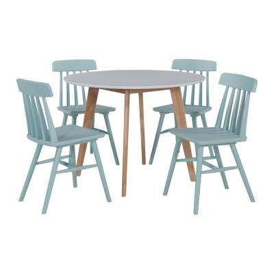 Edgewater 5-Piece Dining Set with White Topped Round Table and Armless Wood Dining Chairs in Sky Blue