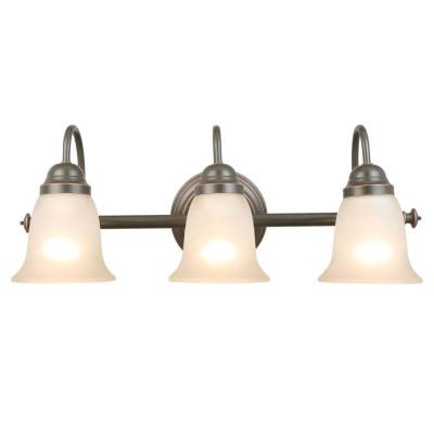 Springston 3-Light Oil Rubbed Bronze Vanity Light with Tea Stained Glass Shades
