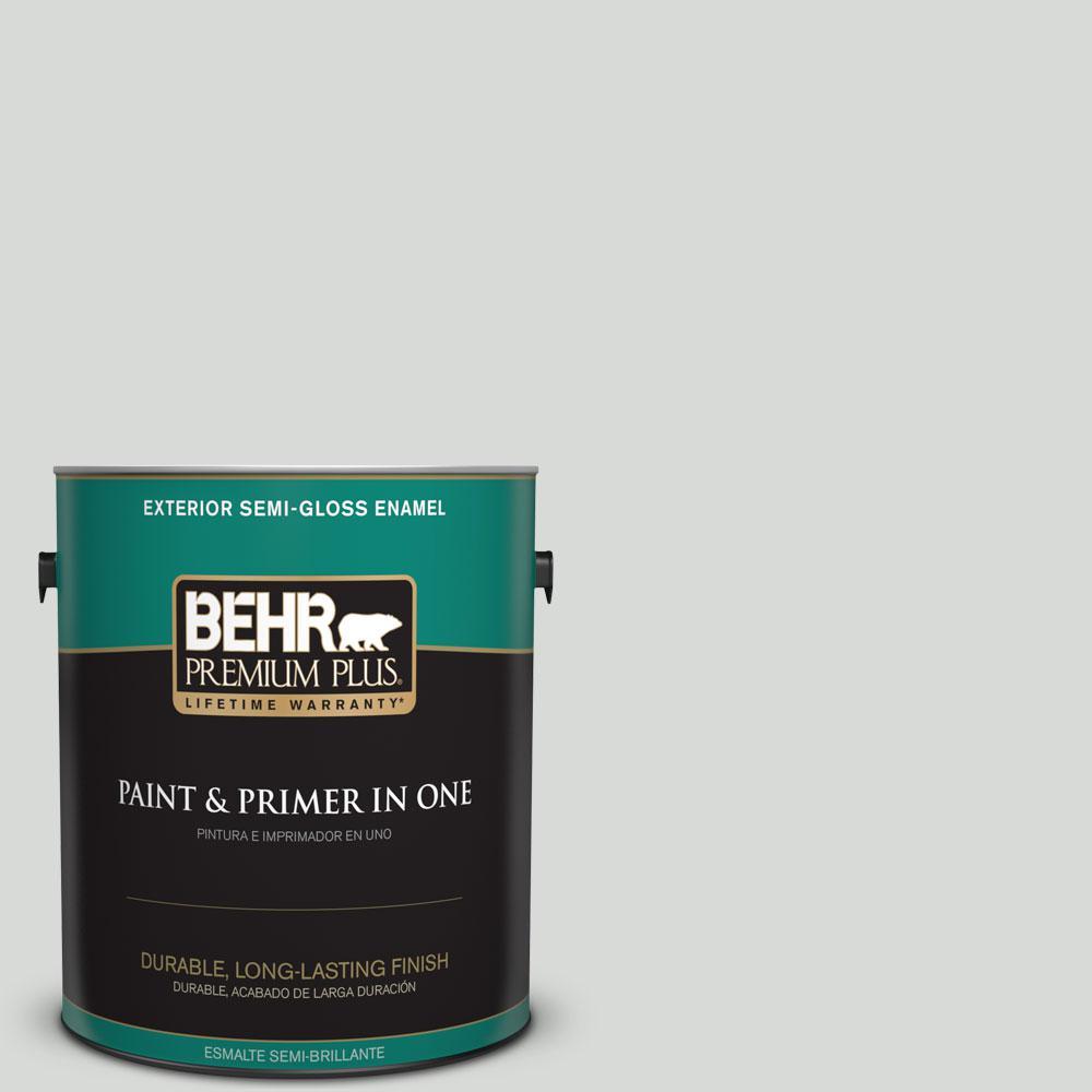 BEHR Premium Plus 1-gal. #N460-1 Evening White Semi-Gloss Enamel Exterior Paint