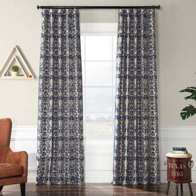 Firenze Silver and Blue Flocked Faux Silk Curtain - 50 in. W x 120 in. L