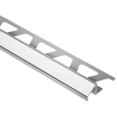 Reno-U Bright Chrome Anodized Aluminum 3/8 in. x 8 ft. 2-1/2 in. Metal Reducer Tile Edging Trim