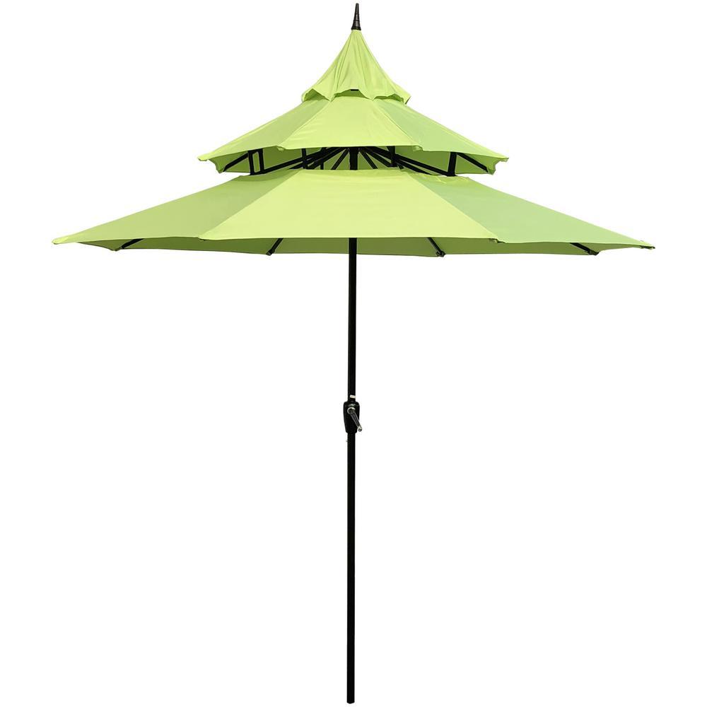 9 ft. Steel Crank Pagoda Market Patio Umbrella in Lime Green